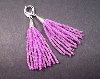 Tassel Earrings, Lavender Glass Seed Beaded Fringe Earrings, Silver Dangle Earrings, FREE Shipping U.S.
