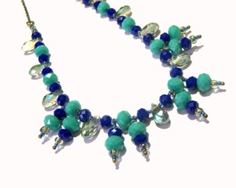 Beaded Blue Statement Necklace Top Selling Jewelry Popular Jewelry Beaded Jewelry Blue Jewelry Beaded Crystal Necklace
