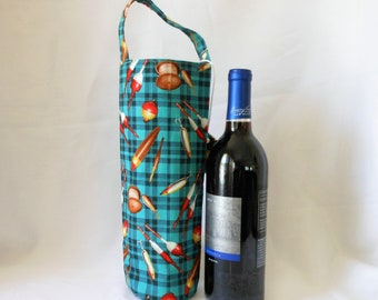 wine tote gift bag fishing theme, Father's day gift, present for any one you likes to fish, birthday present for him and her, wine sleeve