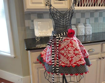 Cherry Damask ~   Annabelle Style - Retro  Women's HALF Apron ~ 4RetroSisters
