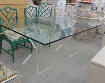 Glam Modern Lucite X Base Dining Table
