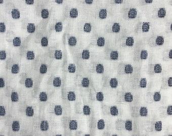 100% Linen 'Woven Indigo Spot' soft-washed linen 1.2m