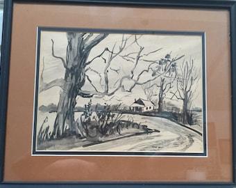 1950s original black and white watercolor