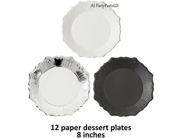 silver embossed plates set, graduation party tableware, disposable paper plate, elegant birthday table setting, white, black, unique, pretty