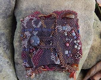 Free Form Brown Peyote woven Vintage Venetian Seed Bead Cuff