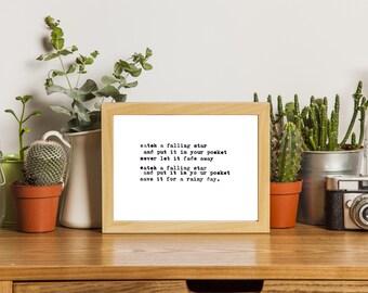 Catch a Falling Star | Typewriter Art