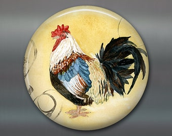 """3.5"""" rooster fridge magnet, hand painted magnet, tuscan decor art magnet, yellow country kitchen decor, large magnet,  MA-706"""