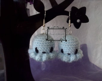 Amigurumi Octopus blue earrings