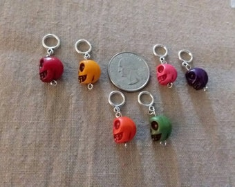 Stitch Markers Sugar Skulls for knitters