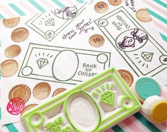 play money rubber stamps | bank note & coin | toy money stamp | diy birthday card making | hand carved by talktothesun | set of 3