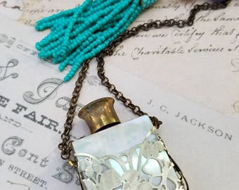 Mother of Pearl Perfume Bottle Assemblage Pendant Necklace