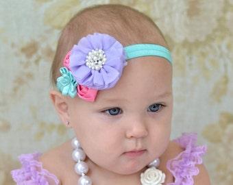 Pastel Chiffon and Satin Headband  Baby Headband, Flower Headband,Newborn headband mint,lavender, pink