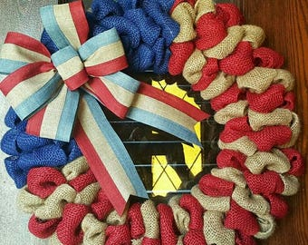 American Flag, Burlap Flag, Fourth of July, 4th of July Wreath, Fourth of July Wreath, Patriotic Wreath, American Flag Wreath, Military