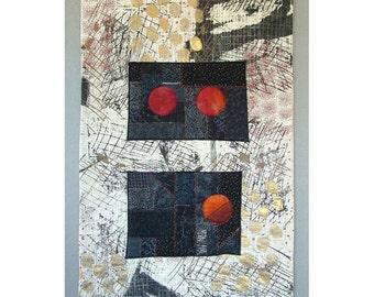 Art Quilt Collage mural lune montante expressionniste abstrait milieu du siècle moderne broderie sérigraphie