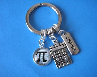 Maths Teacher Gift Math Keychain Pi Keyring Calculator Charm