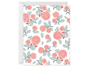 Rose Pattern Blank Notecard - Floral Pattern Card - Single Card - Notecard Blank Inside