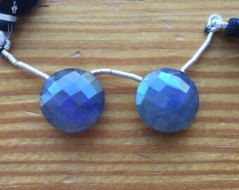 BREATHTAKING Labradorite Faceted Coin Briolette Drops Matched Pair, 17mm x 17mm x 7mm, Intense Blue Flash