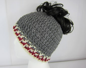 Messy Bun Hat, Crochet Messy Bun Beanie, Grey Burgandy, Sock Monkey Hat, Womens messy bun hat, Girls Juniors teen, Free Shipping