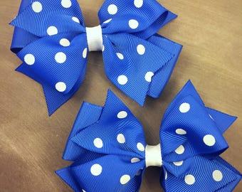 Blue and white hair bows / fall hair bows / football hair bows / pig set hair bows / 4 inch hair bows