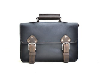 Leather Satchel - Messenger Bag - Crossbody Cambridge Man Woman Small Everyday Handbag Murse