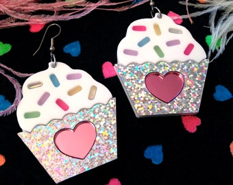 Cupcake and Sprinkles Earrings, Laser Cut Acrylic, Plastic Jewelry