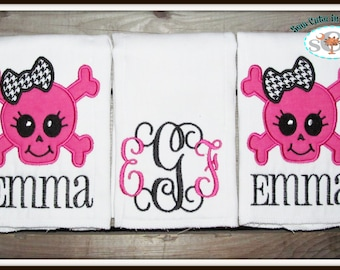 Baby Girl Skull Themed Monogrammed Boutique Burp Cloths