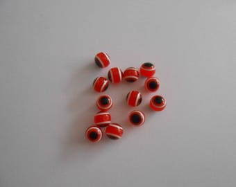 12 pearls dark orange evil eye 8mm