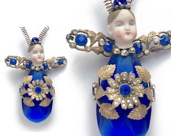 cobalt glass firefly ornament, mixed media assemblage, original art doll ornament, altered doll, FIREFLY art by Elizabeth Rosen