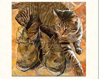 Cat Greeting Cards, Cat Art, Notecard Set (10) Vincent Van Gogh, Blank Note Cards, Note Card Stationery, Deborah Julian
