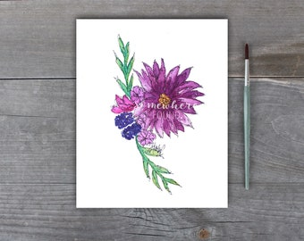 Flowers & Berries - Watercolor Print - Home Decor - Mother's Day - Gift