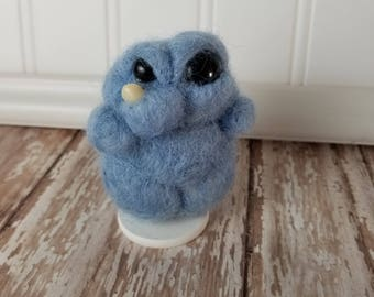 MINI **Adorable Needle Felted Wool Toothy Monster- Light blue