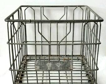 Vintage Wire Milk Crate, Golden Guernsey, Indianapolis, Rustic, Farmhouse Decor, Primitive