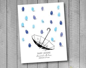 Personalized Baby Shower Umbrella Thumbprint Guestbook Poster - Fingerprint Rain Drops