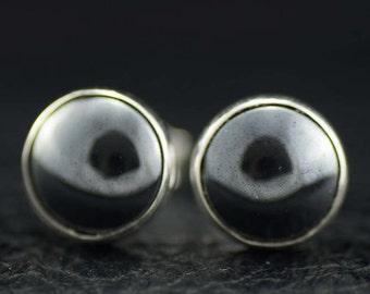 Hematite and Sterling Silver Stud Earrings