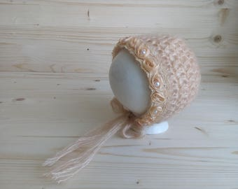 Mohair Newborn Hat, Newborn Photo Prop, Mohair Newborn Bonnet, Newborn Girl Bonnet, Crochet Newborn Hat, Handmade Baby Hat, Newborn Girl Hat