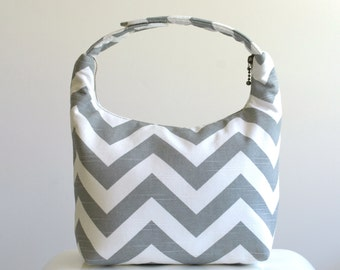 Insulated Lunch Bag, Lunch Bag For Women , Chevron Lunch Tote, Lunch Bag Insulated, Reusable Lunch Tote, Women Lunch Bag-Gray Chevron