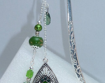 """Large bookmark Silver """"Indian"""" green"""