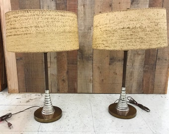 Pair of Mid Century Modern Atomic Lamps with Fiberglass Shades Space Age