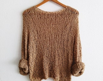 Camel basic knit  sweater for women