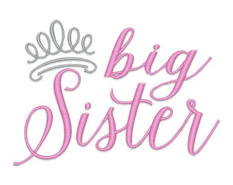 Big Sister Tiara Embroidery Design- Instant Download
