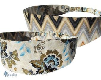 Floral Headband - Chevron Headband - Floral Bandeau - Bandana Headband - Reversible Headband - Hair Loss Headband - Mothers Day Gift