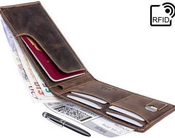 VISCONTI Leather Passport Wallet with RFID - Oil Brown - Jet - Passport Cover - Passport Holder - Free Branded Pen - Premium Leather