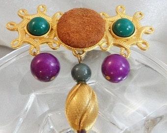 SUPER SALE Vintage Mardi Gras Brooch.  Folk Art Suede Beads Purple Green Dangling Pin.
