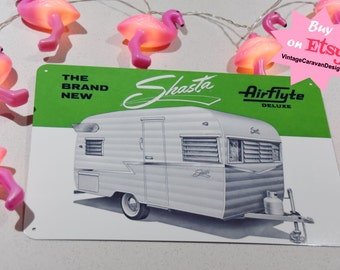 SHASTA Airflyte TIN SIGN vintage camper trailer retro metal caravan Brochure wall Art Glamping camping New 30x20cm