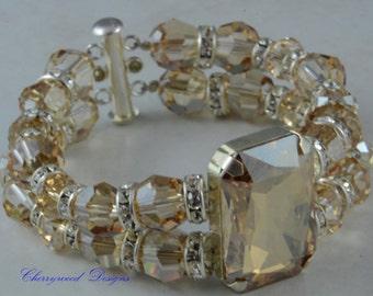 Christmas Gift, Christmas Bracelet, Wedding Jewellery, Bridal Jewellery, Swarovski Crystal Bracelet, Formal, Bridesmaids, Golden Shadow