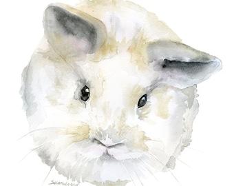 Baby Bunny Watercolor Painting Giclee Print 11 x 14 - Woodland Animal Fine Art Reproduction Nursery