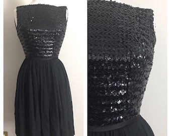1950s 1960s Little Black Dress Sequins and Chiffon