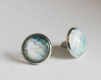Mermaid - Fish Tail - Dragon Scales Stud Earrings