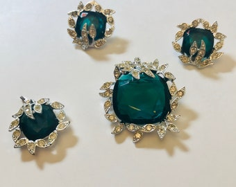 Rare Vintage Sarah Coventry Brooch, Pendant, & Clip Earring Emerald Green Set