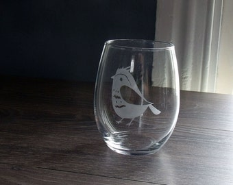 Whimsical Bird Stemless Wine Glass - Etched Glass